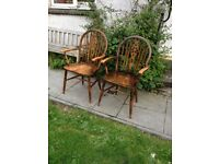 Pair of Country Kitchen Stickback Elbow Chairs