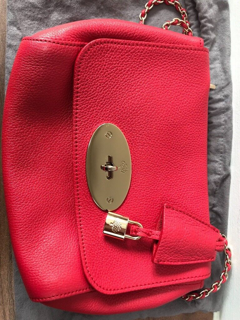 151e757c4360 Authentic Mulberry Lily (Regular) Leather Bag in Hibiscus Red Coral ...