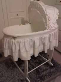 White cradle & moses basket. Price for sale of both will sell separately if preferred.