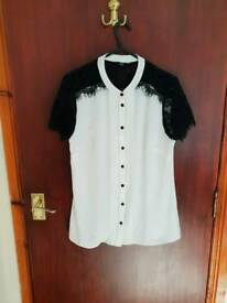 Cream and black blouse size 10