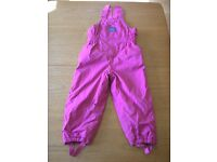 JoJo Maman Bebe waterproof fleece lined dungarees/salopettes.