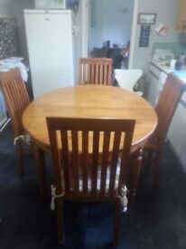 Oak Wood Dining Table And X4 Chairs For Sale