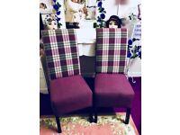 Purple & Lilac , Grey Chairs Pair If 2 nice chairs