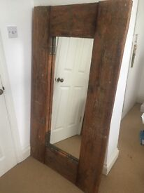 Rustic chunky wooden full length large Mirror.Country/Industrial 153cm x 86.5cm £70