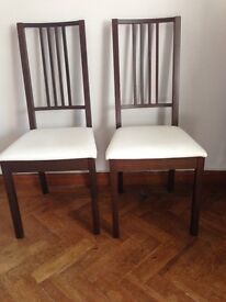 2 x Ikea dining chairs for sale - Cream seat cover and dark wood frame