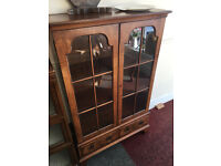 Beautiful Antique Victorian Style Burr Walnut Glazed Doors Bookcase with 2 Bottom Drawers
