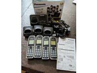 Panasonic set of 4 handset home phones KX-TG6624