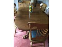 REDUCED Oak Dining Table & 8 Chairs