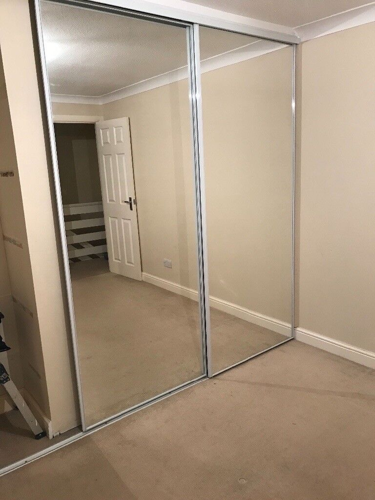 2 Mirrored Sliding Wardrobe Doors Plus Rails In Ashford Kent Gumtree