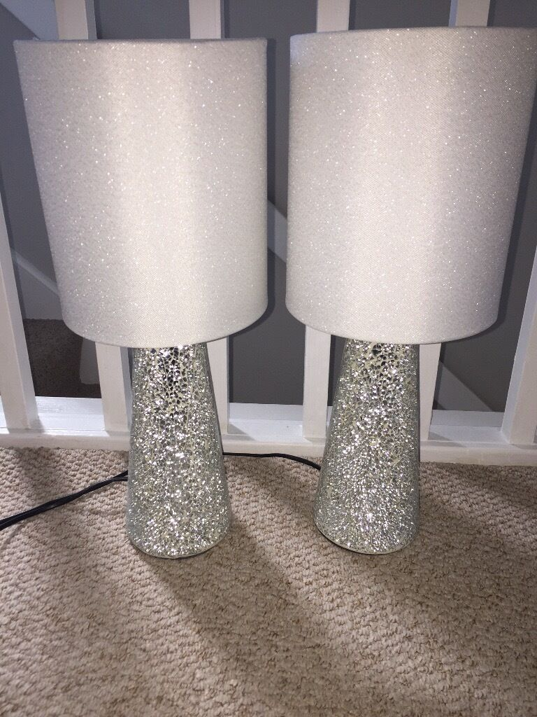 Unique 2 NEXT BEDSIDE LAMPS GLITTER CRACKED GLASS VGC | in Winsford  US03