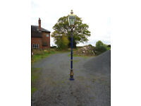 FOR SALE, LAMP POST + SOLID BRASS LANTERN WITH HAND MADE GLASS & LEADED LIGHTS.
