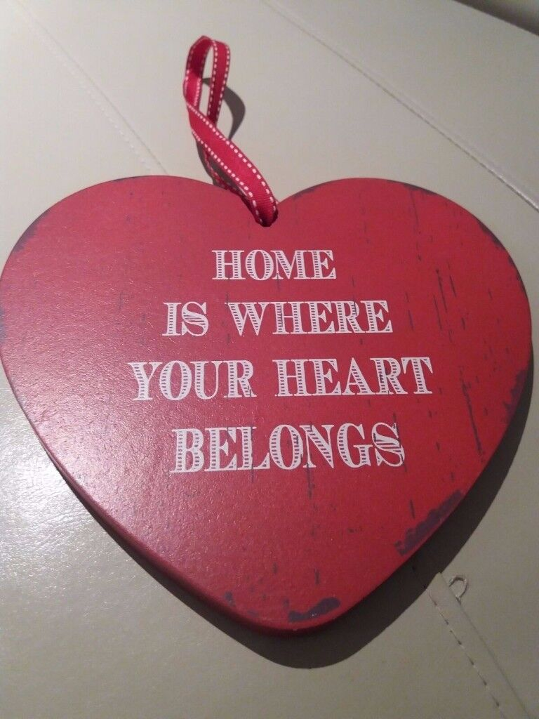 1 Wooden Red Heart and 1 Wooden and red Plaque