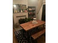 Solid oak dining table and benches one piece slab