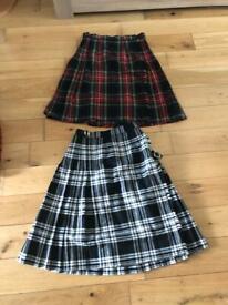 "Tartan kilt skirts ladies /girls 26"" -28""waist £5 each"
