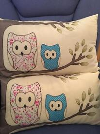 Pair Of Owl Cushions