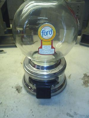 OLD Nice FORD GUMBALL MACHINE With  FREE ford GUMBALLS 1965's real glass globe