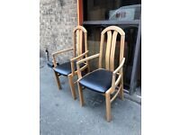NICE PAIR OF VINTAGE DINING CHAIRS CARVER CHAIRS