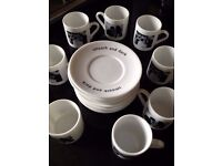 Perfect condition, Espresso cups and saucers, B&W stylish design. Very expensive new. Whittards.