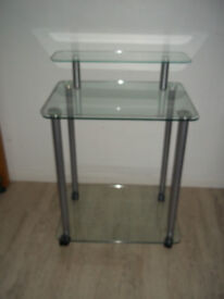 Glass Computer Desk / Hi-Fi unit or Display unit Tempered Glass on Caster
