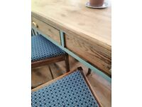 Antiquue pine kitchen table and four oak chairs