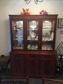 Reproduction glass fronted display cabinet