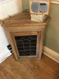 Old Pine Corner Wal Unit Stained Glass Door
