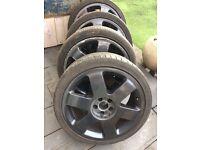 """VW Audi 5x100 17"""" black alloy wheels"""