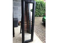 Freestanding faux leather full length mirror