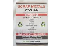 Scrap metals Wanted - cash paid - Southampton & Surrounding