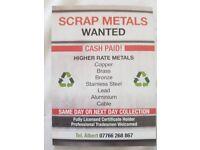 Scrap metals Wanted - cash paid - Southampton & Surrounding