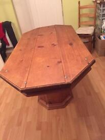 Real Oak Wood Dining Table and Six Chairs