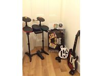 Guitar Hero Nintendo Wii,Drums,2 Guitarrs, Microphone + 2 Games:Band Hero and Guitar Hero World Tour