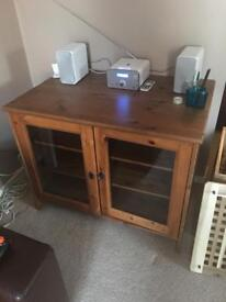 Solid wood TV stereo unit with lockable door