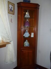 tall mahogany corner wall unit and matching nest of tables