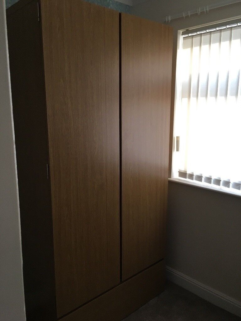 Two Door Wardrobe with Bottom Drawer