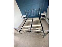 Chrome metal bed frame