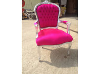 Hot pink velvet armchair with silver frame