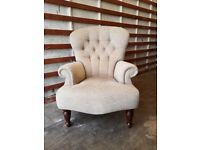 Designer Cream & Brown Armchair for sale (Delivery available)