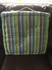 Large hi-rise cushions, 3 in number, colourful and in good condition. Size 50cm x 50cm x 13 cm H