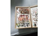 Wooden fly box with couple hundred flys