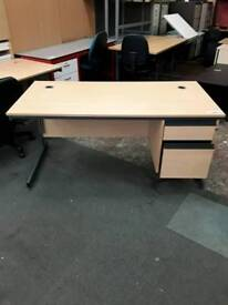 Modern Straight Desk With Two Draws