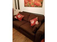 Chenille brown sofas 2&3 seater
