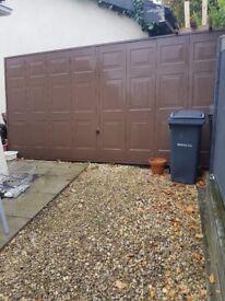 Brown up and over garage door