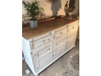 Vintage Oak Sideboard painted antique white chalk paint