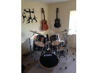 Tama Superstar Drum Kit with Paiste cymbals and double bass pedal