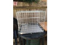 DOG CAGE - Small, Silver metal, Excellent condition
