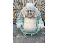 Stone garden jolly Buddha statue, lovely detail. New