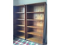 2 Solid Pine Wood Book Cases - matching pair