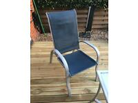 Garden furniture x4 chairs,stool and glass table