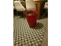 GLOSS STOOL SEAT CHAIR CUSHION OTTOMAN HIDDEN STORAGE GRADIENT BANDED RED COLOUR GOOD CONDITION